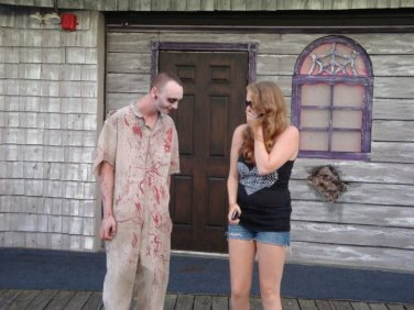 Getting scared by a haunted house zombie back in 2011!